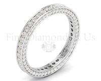 1.10ct Pave Set Round Diamonds Full Eternity Wedding Ring,18K White& Yellow Gold