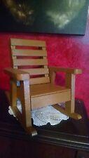 Doll Bear Miniature Furniture VTG Wood Rocking Rocker Chair Slatted Seat