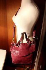 FOSSIL LONG TIME VINTAGE CROSS BODY 100% AUTHENTIC PURPLE 100% GENUINE LEATHER