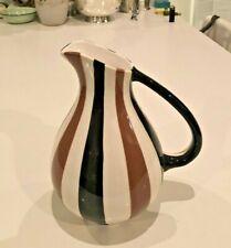 New ListingJonathan Adler Art Pottery Modernist Brown Black Stripes Pitcher Vase Happy Home