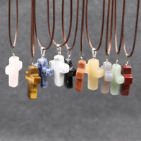 Natural Stone Quartz Cross Charms Pendant Necklace Women/Men Jewelry Choker Gift