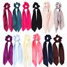 Women Elastic Bow Satin Long Ribbon Ponytail Scarf Hair Tie Scrunchies Hair Rope