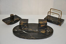 Italian Portoro Marble & Bronze Desk Top Inkwell Set, Letter Holder & Blotter