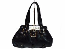 NWT Perlina Satchel Bag Tote Black Leather Gold Hardware ,Lock Entry
