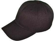 NEW BLACK BASEBALL HAT cotton cap strap adjustable plain blank dark hook & loop
