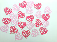 24 Edible Large Hot Pink/Pink Hearts Pre Cut Wafer Cupcake Toppers