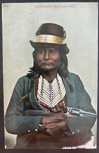 Mint USA Picture Postcard Native American Indian Comanches Esa Ton Yett