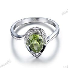 Silver Pear 8x6mm Peridot Natural Diamonds Engagement Wedding Ring Fine Jewelry