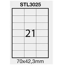 STARLINE STL3025 Etichetta adesiva bianca 100fg A4 70x42,3mm 21et//fg