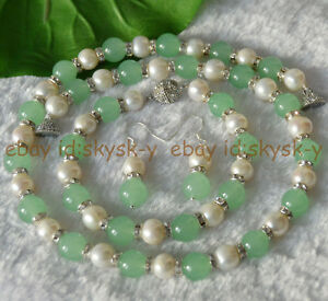 Natural Light Green Jade Genuine White Cultured Pearl Necklace Bracelet Earrings