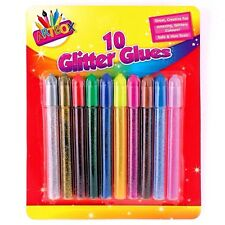 10 Glitter Glue Pens Assorted Colours  Arts & Craft Making  Artbox - WH3 R3B 324