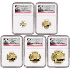 2016 China Gold Panda - 5-pc. Year Set - Ngc Ms70 - Early Releases - Panda Label