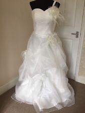 Ivory Ruffle Rose Feather Corsage Wedding Dress 12 14 BNWT