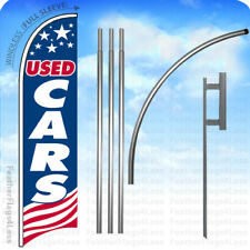 USED CARS - Windless Swooper Flag 15' KIT Feather Banner Sign - USA bb