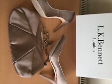 Lk Bennett Silk Taupe Shoes Size 40, Uk 7 And Matching Bag, Stunning!