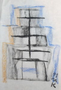 ABSTRACT CUBIST PASTEL DRAWING CONSTRUCTIVISM SIGNED