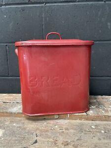 Vintage Enamel Red Breadbin Kitchenalia Country Rare