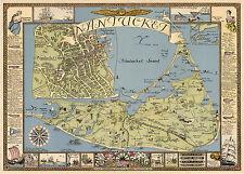 Pictorial Map Nantucket Fishing Nautical Theme Ships Wall Art Print Poster Decor