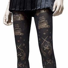 HOT TOPIC LOVESICK GOLD PRINT SEA LIFE SHIP BLACK OPAQUE TIGHTS NIB  HARD 2 FIND
