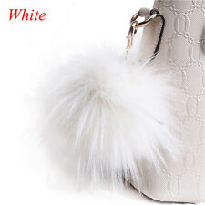 Fluffy Pom Pom Real Fox Fur Ball Silk Braid Bag Charm Pendant Key Ring Keychain