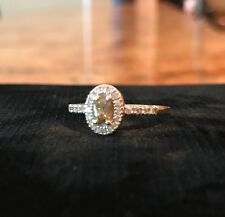 Affinity .50 CTTW Oval Champagne and White Diamond Ring 14KT Size 8