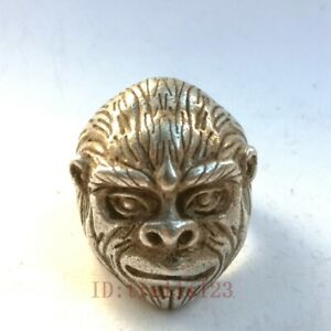 Collection Old China Tibet Silver Handmade Sculpture primitive man Rings Pendant