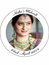 30 PRE-CUT EDIBLE WAFER CUP CAKE TOPPERS PERSONALISED MEHENDI YOUR PHOTO & TEXT