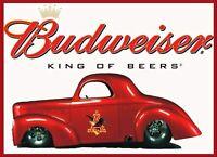 "Budweiser Beer Bar Pub Man Cave Happy Hour Retro Metal Sign 8"" x 12"""