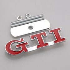 Bolt on 3D Metal Chrome Red Rabbit GTI Front Emblem Badge For Grill Billet