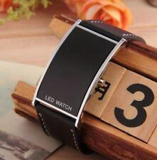 Reloj de pulsera para Hombre mujer moda Sport LED digital de Cuero Regalo Negro