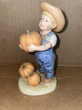 """2 Vintage 1985 Homco Denim Days Figurine- Let Us Give Thanks #1502 ~ 5 1/4"""""""