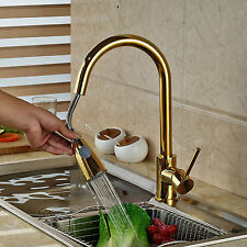 New Gold Polished Pull Out Sprayer Kitchen Faucet Swivel Spout Sink Mixer Tap