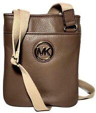 Michael Kors Mk Fulton Leather Crossbody Bag Messenger in Dark Dune