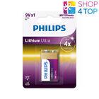 PHILIPS LITHIUM ULTRA 9V BATTERY 6FR61 9V BLISTER 1BL EXP 2026 MAY NEW