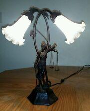 Vintage Themis mythological Greek goddess Cast Iron table lamp w/2 lights!