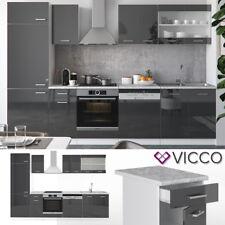 Küche Küchenzeile Küchenblock Anthrazit R-Line 300 cm Hochglanz Vicco