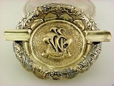 Antique Silver 833 Portugal cr. 1890 Ashtray with the S. Miguel Ship Embossment