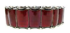 "EINAR MODAHL STERLING SILVER RED BLACK ENAMEL NORWAY 925s PANEL BRACELET 7.25"""