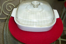 CORNING WARE ALL WHITE M-10-GR-B SQUARE CASSEROLE DISH W/ GLASS LID AND GRILL