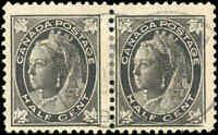 1897 Used Canada PAIR 1/2c F Scott #66 Queen Victoria Maple Leaf Stamps