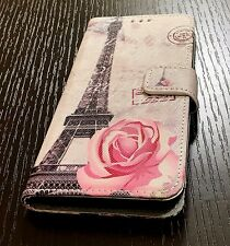 For Samsung Galaxy S8 - Card Wallet Diary Pouch Case Paris Eiffel Tower Flower