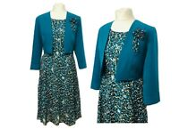 New Womens Teal Floral Dress With Bolero/Jacket For Wedding Church Party Events