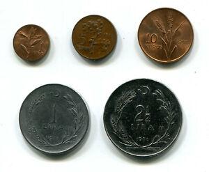 Turkey 1, 5 & 10 Kurus & 1, 2½ Lira 1971 KM-889 890 893 895 898 (5 pcs)