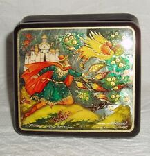 Russian small Lacquer box Mother of pearl Palekh Firebird Phoenix Hand Painted