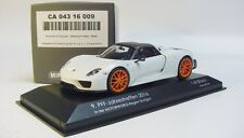 1:43 MINICHAMPS 2015 PORSCHE 918 Spyder Weissach Package white CARTIMA LE 50 PFF