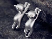 Silber Ohrstecker Katze Kitten Damen 925 Ohrringe Stecker Ohrschmuck Geschenk