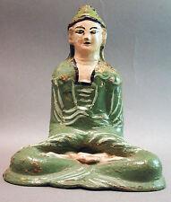 BUDDHA SE ASIA GREEN ARTIFACT RELIGIOUS FOLK ART METAL BRONZE FOLK ART FIGURE