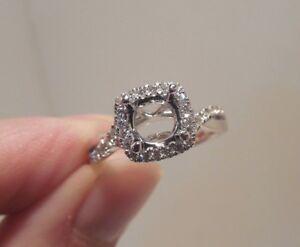 Nelson - New - 18K - White Gold - .28CTW - Diamond - Halo - Semi Mounting - Ring