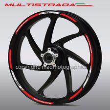 Ducati Multistrada 950 1200 wheel decals stickers rim stripes Laminated Red Wht