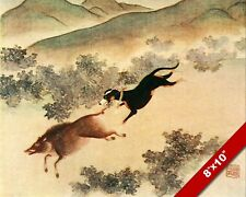 CHINESE HOUND HUNTING DOG CHASING A WILD BOAR ART PAINTING PRINT ON REAL CANVAS